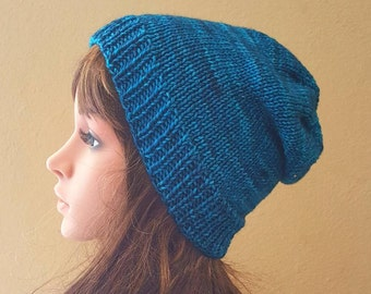 knit slouch hat, organic hand-dyed merino wool, knitted blue slouchy beanie, women's knit blue beanie, knit blue beanie, soft and squishy