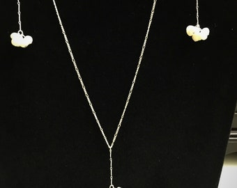 Freshwater Pearl and Silver Y necklace (Pearl Puffs)