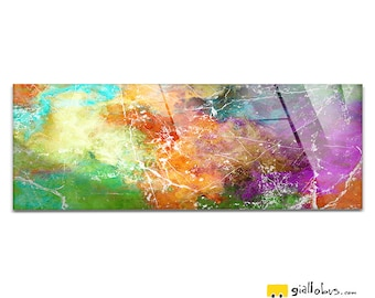 Plexiglass square Prints on acrylic glass-abstract Design-Color Sea-Yellow BUS