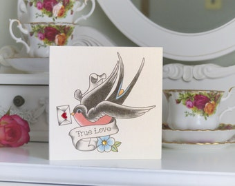 Love Note Swallow Vintage Tattoo Valentine's Day Card