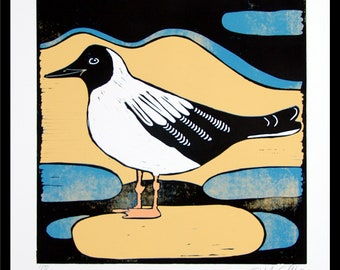 linocut, seagull, stylized print, bird print, gull, blue and yellow, modern art, printmaking, mariann johansen-ellis, sea, water, beach