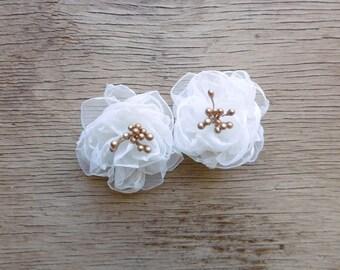 Mini FairytaleFlower Hair Flowers in White and Gold - White Flower Hair Clips - Bridal Hair Flowers - Flower Girl Hair Pins