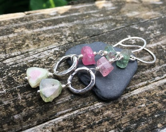 Watermelon Tourmaline Sterling Silver Dangle Earrings Slice - Pink Tourmaline Crystals - Handmade Jewelry - Shepherds Hooks Leverback Hooks