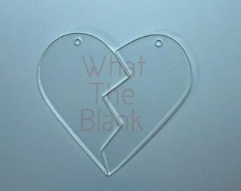 "Split Heart Acrylic Keychain Blank, 3"""