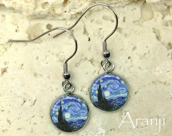 Van Gogh Starry Night earrings, Starry Night earrings, Van Gogh earrings, fine art earrings, Starry Night dangle earrings, earrings, AR145DP