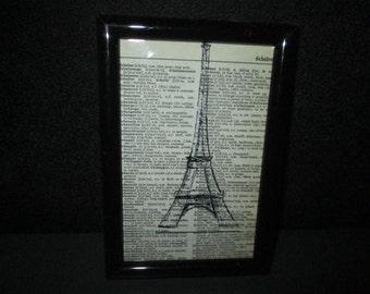 Paris Eiffel Tower Drawing Print on Vintage Paper