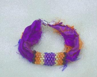 Fiber bracelet, sari silk bracelet, beaded fiber bracelet, seed bead bracelet, purple bracelet, boho, hippie