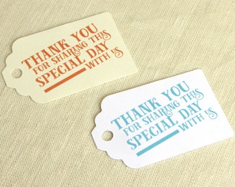 "Wedding Favor Tag - Thank You Tag - Welcome Bag - Modern Typographic Graphic - Luggage Tag Destination Travel - Choose Color - 2.75"" x 1.75"""