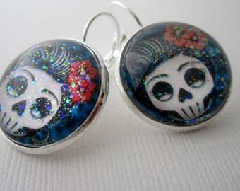 Day O' Dead Rockabilly Girl Star Earrings