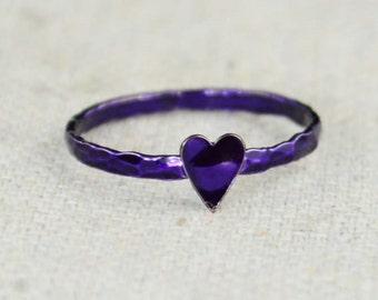 Tiny Purple Heart Ring, Sterling Silver, Purple Ring, Personalized Ring, purple heart,violet Ring, Girl Friend Gift, BFF Ring, Best Friend