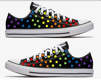 Converse Hand Painted Rainbow Polka Dots