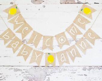 Lemonade Baby Shower Decor, Summer Baby Shower Banner, Welcome Baby Banner,  Lemon Baby Shower Decorations, Summer Welcome Baby Sign, B949