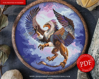 Gryphon Cross Stitch Pattern for Instant Download *P409 | Lovely Cross Stitch| Room Decor| Needlecraft Pattern| Easy Cross Stitch