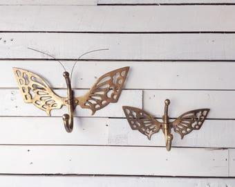 Set of 2 vintage brass butterfly hooks   coat hanger   towel rack