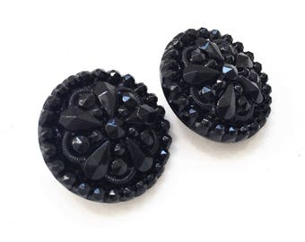 vintage victorian mildly distressed black decorative carved glass shank buttons--matching lot of 2