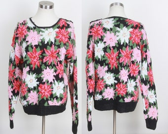 vintage 1980s Countryside Classics handknit ramie cotton floral sweater LARGE