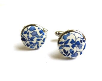 Liberty fabric cufflinks Katie and Millie medium blue or silver option