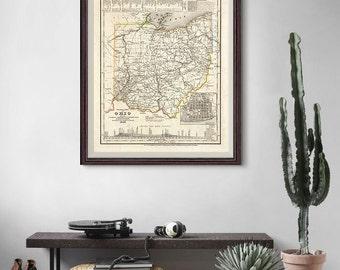 Ohio Old Map 1845, Ohio Map, Ohio History Print, Ohio State Map, Vintage Decor- CP126