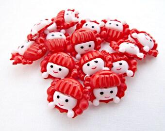 Red Hair Girl, 25 Girl Buttons, Novelty Buttons, Red and Cream Button, Craft Supplies, Kids Fasteners, Needlecraft Buttons, UK Seller