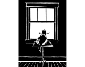 Cat in window shopping, day dreaming, antique window, note card, good luck, future dreams, get well, old house, black and white, cat lover