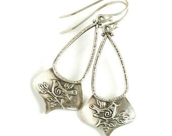 Sparrow Shield Earrings - Sterling Silver Bird Earrings with Hypoallergenic Wires