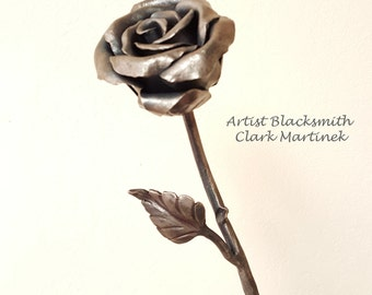 Metal Flower, Forever Iron Rose, iron anniversary gift, 6th anniversary gift, steel 11th anniversary, engraved, personalized rose