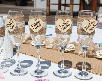 Bridesmaids gifts, country wedding party glasses, personalized wedding party gifts, groomsmen gifts, champagne flutes, toasting flutes