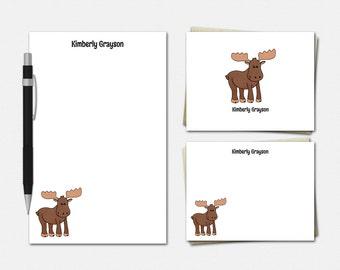 Moose Stationery Set - Personalised Moose Stationary - Cute Moose Gift - Moose Stationery - Personalized Moose Stationery Set