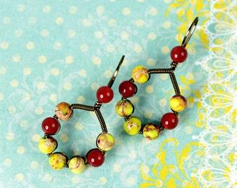 Carnelian Earrings, Yellow Jasper Earrings, Wire Earrings, Boho Earrings, Statement Earrings, Bohemian Earring, Dangle Earring, Boho Jewelry