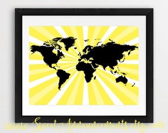Instant Download - World map, burst, yellow, wall art, gift - PW016