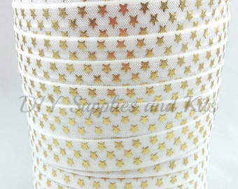 White gold stars fold over elastic, Printed FOE,  Headband elastic,  Elastic by the yard - 5/8 elastic - 1 or 5 yards