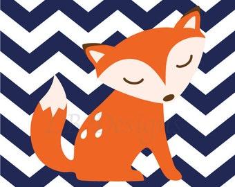 Woodland Nursery Print, Fox Nursery Decor, Orange and Navy Blue Nursery, Boy Woodland Bedroom, Playroom Decor, Boy Nursery, Chevron Print