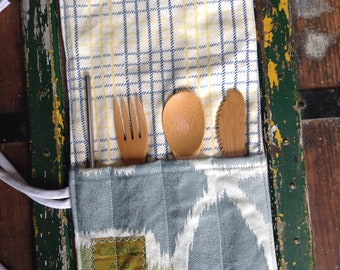 Eco friendly utensil case, cutlery travel case, bamboo cutlery pouch, zero waste lunch, lunch box essentials, non plastic cutlery
