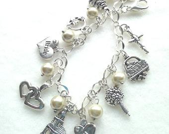 FREE Ship! Wedding Charm Bracelet. Bride. Bridesmaid. Flowergirl. Mother of the Bride. Mother of the Groom. Charm Bracelet.  BC22