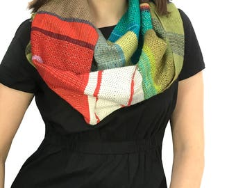 Diane | Handwoven Striped Scarf in Red & Green | Heirloom Modern Woven Scarf | Colorful Loomed Accessory | pidge pidge Ladies Fashion | H96