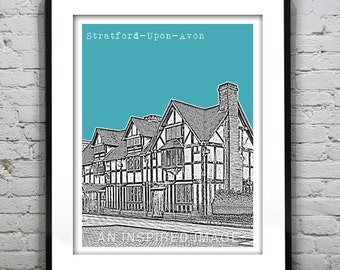 20% OFF Memorial Day Sale - Stratford-Upon-Avon England Poster Stratford Warwickshire United Kingdom Art Print