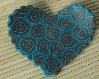Turquiose and Gold HEART Shaped Trinket Plate - Jewelry Holder - Polymer Clay Ring Dish
