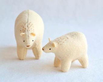 big spirit bear - mama and baby - soft sculpture animal