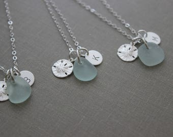 Bridesmaid Jewelry - Personalized Charm Necklaces with Sterling Silver Sand Dollar, Genuine Sea Glass and Initial Charm, Bridal Party Set