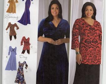 Knit Dress In Three lengths Or Tunic With Bodice Variations Size 20w 22w 24w 26w 28w Sewing Pattern 2009 Khaliah Ali Simplicity 2544