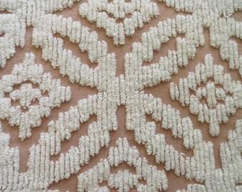 "SALE...Mocha Brown Chenille Wedding Ring Vintage Fabric...12 x 28"""