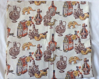 Vintage Rynbende Liqueur Dutch Cotton Kitchen Fabric, 3.75 Yards
