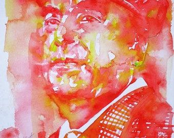PABLO NERUDA - original watercolor portrait - one of a kind!