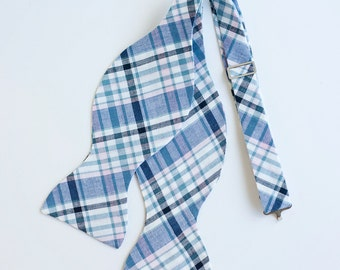 The Beau- men's pale pink and navy organic madras plaid freestyle self-tie bow tie (comes with tying instructions)