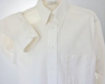 60s Mens Ivory Oxford Shirt Arrow Long Sleeve Unworn 15.5 Mint