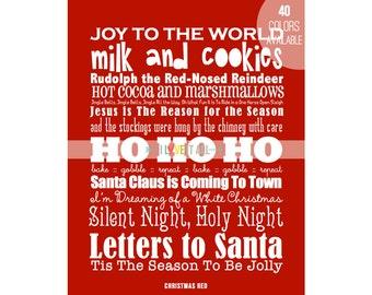 Christmas Festive Subway Art Poster Scroll Print . Holiday Scarlet Red Berry . Bus Tram Scroll Roll . Santa Ho Ho Ho Home Decor