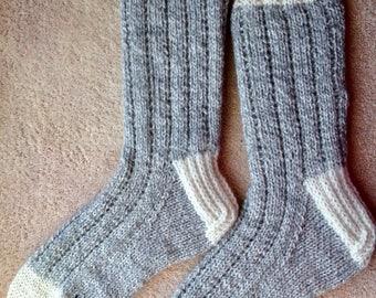 Hand Knit Women's XL or Men's LARGE 100% Wool Heavy Boot, Hiking, Skiing, Snowboarding Socks (B-065)