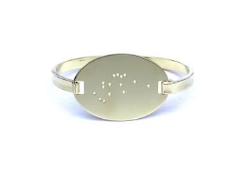 Aquarius High Polished Raw Brass Zodiac Constellation Oval Bracelet