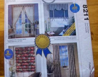 McCalls Home Dec In a Sec 8211 window treatment sewing pattern