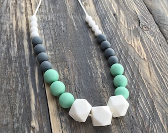 Silicone Baby Teething / Nursing Necklace - Teething Jewelry - Mom and Baby - Shower Gift - Toy - Storm